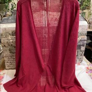 Eileen Fisher Raspberry Open Sweater Cardigan XL